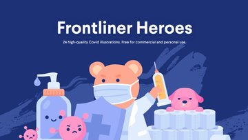 Frontliner Heroes - 一组清新精美的新冠抗疫主题的免费商用插画
