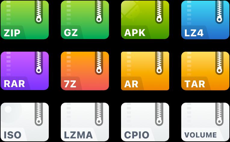 支持20多种压缩文件格式